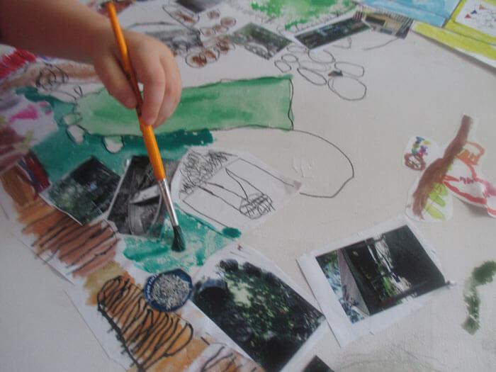Kids painting at kindergarten