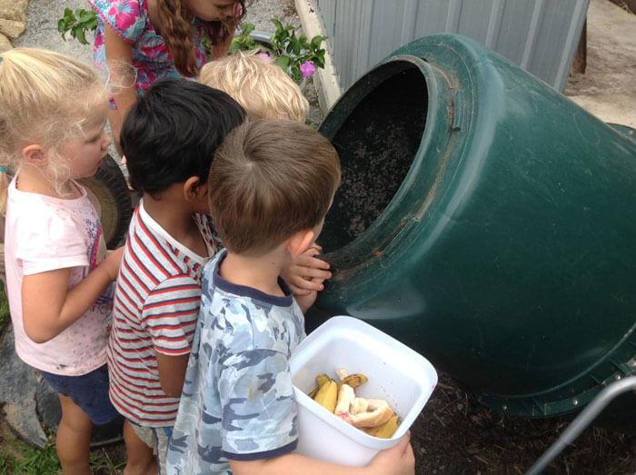 Kids in the garden at Rainbow Vallery Kindergarten